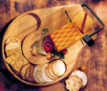 Round Contour Beechwood Cheese Slicer / Server Tray (Model 912B)