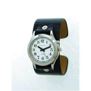 Casual Talking Watch With Leather Slide-On Cuff Band