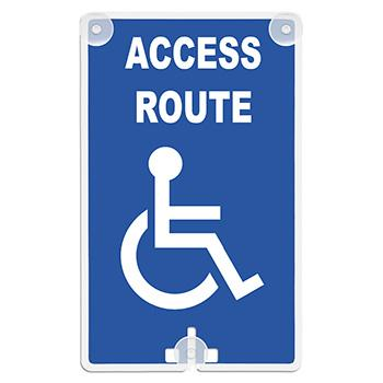 Access Route (With Handicap Access Symbol) Suction Cup Sign (Model 2050)