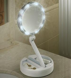 12 X Plus 1X Lighted Folding Vanity And Travel Mirror