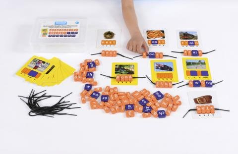 Educational Advantage Systematic Phonics Threading Beads, CVCC CCVC Set