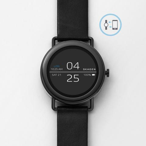 Falster Black Leather Smart Watch